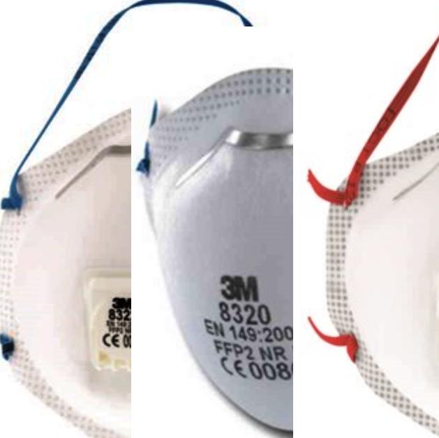 Filtrerende støvmaske 3M™ 8300-serien. ..P2, P3, med og uten ventil.