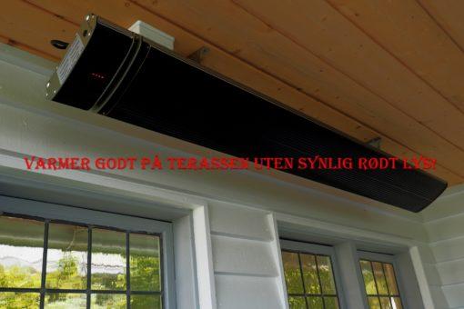 Terassevarmer 1800 W, UTEN SYNLIG rødt lys! 4 effekttrinn, fjernkontroll.